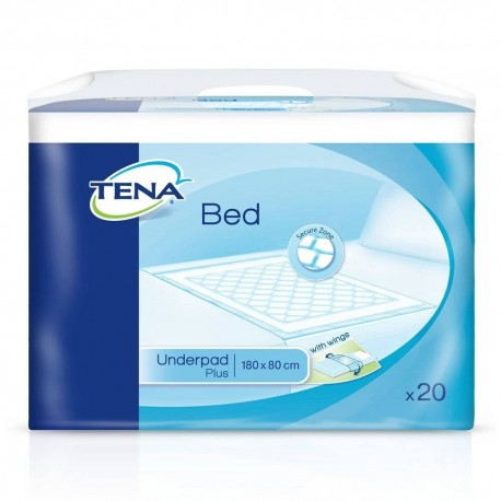 Tena Bed Plus Protector De Cama Con Alas 80x180 20 Uds
