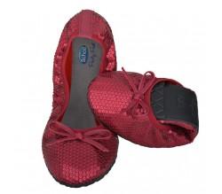 Scholl Party Feet Pocket Ballerina pailletes color Rojo