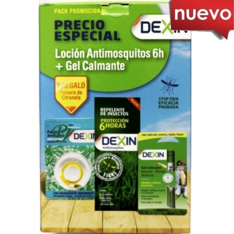 Dexin Loción Antimosquitos 100ml + Gel Calmante 2ml + 2 Pulseras Pack